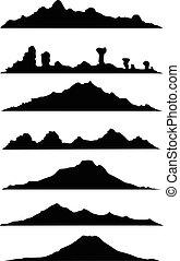 montagna, silhouette, collezione
