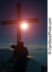 montagna, silhouette, fotografo