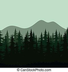 montagna, silhouette, paesaggio, seamless, foresta
