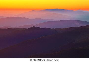 montagna, silhouette, tramonto, colline