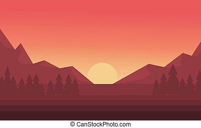 montagna, silhouette, tramonto, sole
