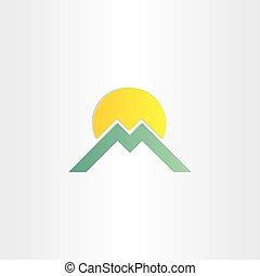 montagna, simbolo, m, lettera, sole