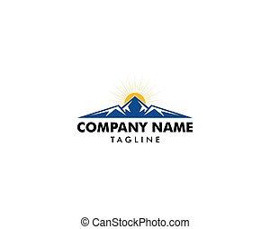 montagna, sole, sagoma, logotipo