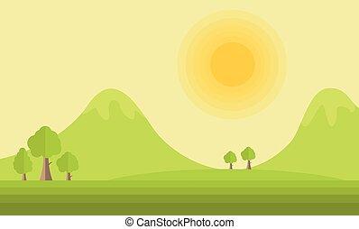 montagna, sole, vettore, paesaggio, appartamento