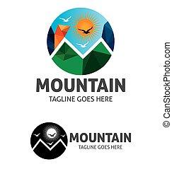 montagna, sole, vettore, sagoma, logotipo, brid