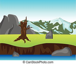 montagna, sponda, breakaway