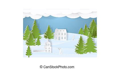 montagna, stile, arte, persone, postcard., illustrazione, color., carta, vettore, villaggio, città, paesaggio, natale