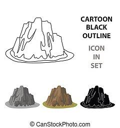 montagna, stile, illustration., icona, montagne, ripido, simbolo, colori, alto, singolo, vettore, scuro, affilato, erba, spikes.different, cartone animato, casato