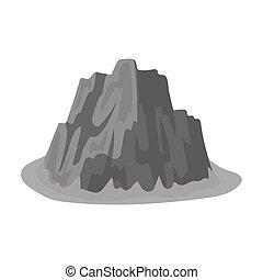 montagna, stile, illustration., icona, montagne, ripido, simbolo, colori, alto, singolo, vettore, affilato, scuro, monocromatico, erba, spikes.different, casato