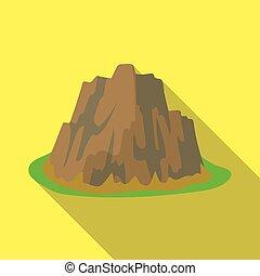 montagna, stile, illustration., icona, montagne, ripido, simbolo, colori, appartamento, alto, singolo, vettore, scuro, affilato, erba, spikes.different, casato
