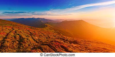 montagna, strabiliante, alba