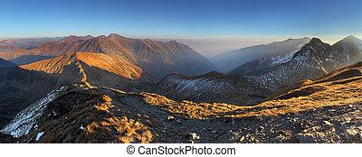 montagna, tatras, panorama, -, rohace, slovacchia, picco, volovec, ovest