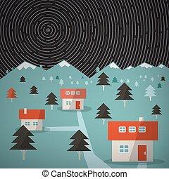 montagna, tracce stella, cielo, vettore, notte, paesaggio