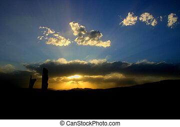montagna, tramonto