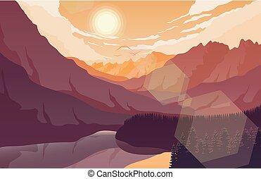 montagna, tramonto, lago, paesaggio, foresta