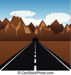 montagna, tunnel, piombi, attraverso, strada, pavimentato