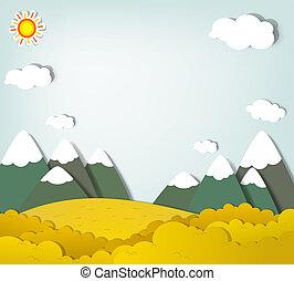 montagna, vettore, applique., paesaggio