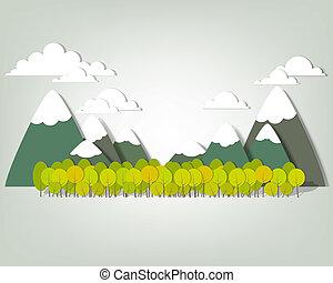 montagna, vettore, applique, paesaggio.