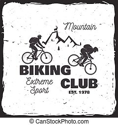 montagna, vettore, biking, illustration., club.
