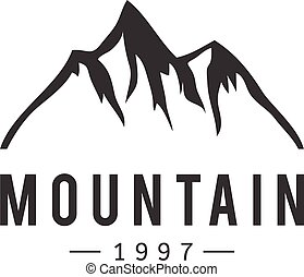 montagna, vettore, distintivo, icona