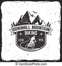 montagna, vettore, illustration., biking., in discesa