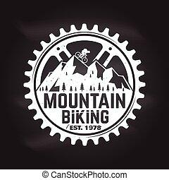 montagna, vettore, illustration., biking.