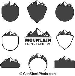 montagna, vettore, set, retro, tesserati magnetici