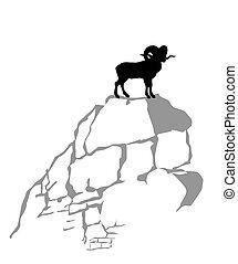 montagna, vettore, silhouette, ariete, illustrazione, fondo,...