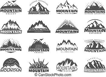 montagna, viaggiare, etichette