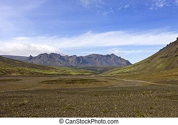 montagna, vulcanico, cresta