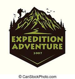 montagne, éléments, randonnée, badges., camp, illustration, aventure, vecteur, conception, forêt, gabarit, logo, escalade, emblèmes