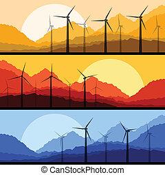 montagne, éoliennes, électricité, vecteur, générateurs, vent