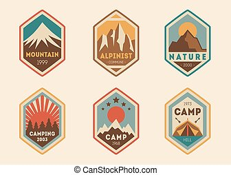 montagne, étiquettes, insignes, vendange