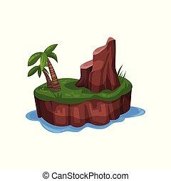 montagne, île, arbre, illustration, océan, exotique, vecteur, paume, fond, blanc