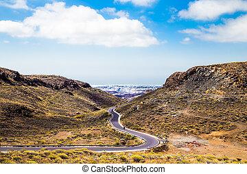 montagne, île, canaria, gran, spain., route