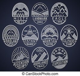 montagne, 2, linéaire, insignes, blanc