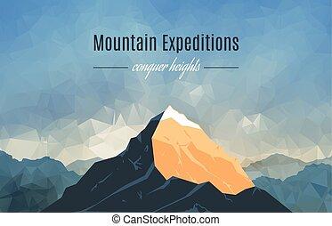montagne, 2, pic, paysage