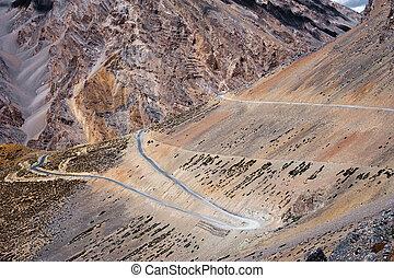 montagne, 4300, paysage., altitude, m, plaines, élevé, inde, ladakh., route, himalaya, sarchu