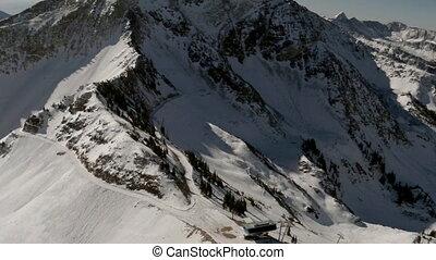 montagne, aérien, arête, neige