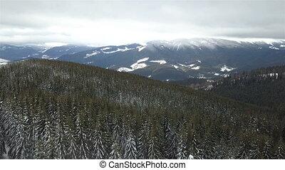 montagne, aérien, hiver, paysage., vue dessus