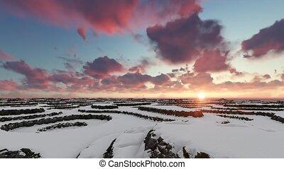 montagne, aérien, hiver, sur, coucher soleil, vol