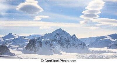 montagne, aérien, neige, antarctique, pic, épique, vue