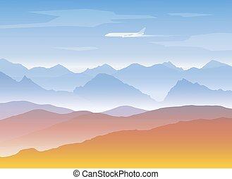montagne, aereo, picchi, fondo