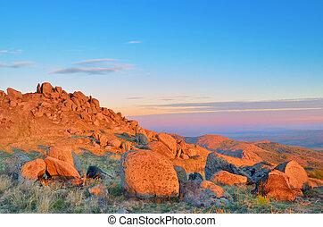 montagne, alba, paesaggio