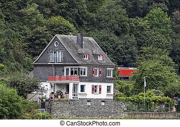 montagne, allemand, maison, vallée, pittoresque