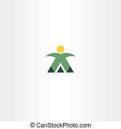 montagne, alpiniste, vecteur, logo, homme, icône
