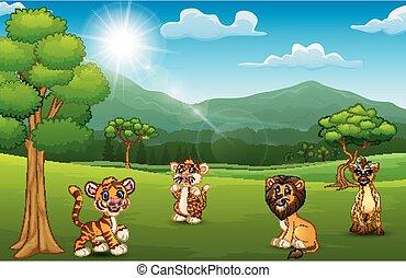 montagne, animal, jungle, fond, sauvage, dessin animé