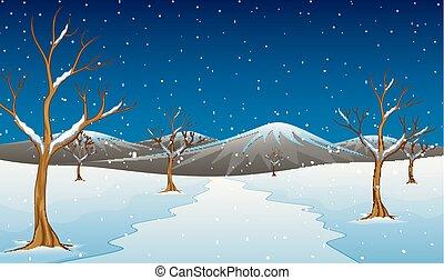 montagne, arbres hiver, nu, paysage, route