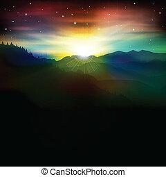 montagne, astratto, alba, fondo