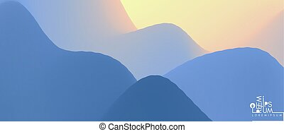 montagne, astratto, sunrise., paesaggio, montagnoso, terrain., fondo., illustration., sun., vettore